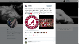 Ty Evans - Alabama Tweet